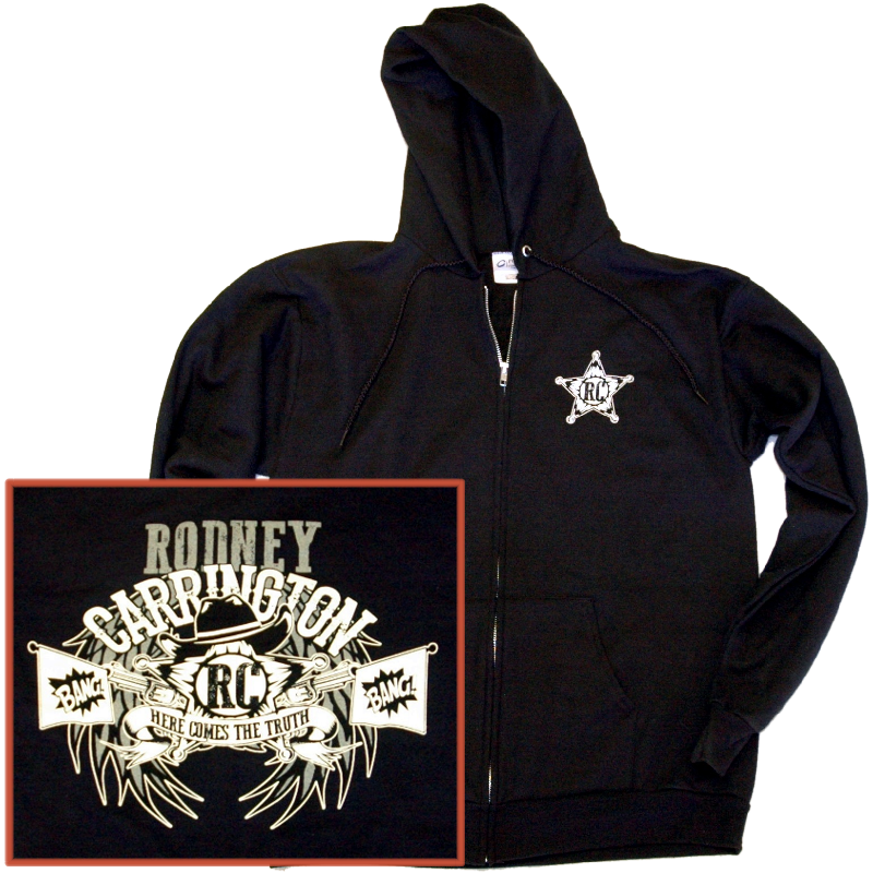 Rodney Carrington Jet Black Zip Up Hoodie